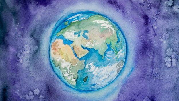Watercolour painting of earth